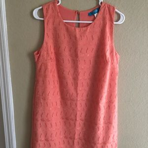 Francesca's coral shift dress.